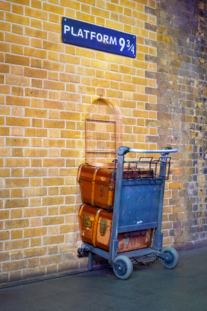 London, UK - May 12 2018: Platform 9 3/4 that taken fron Harry Potter movie in King's Cross station