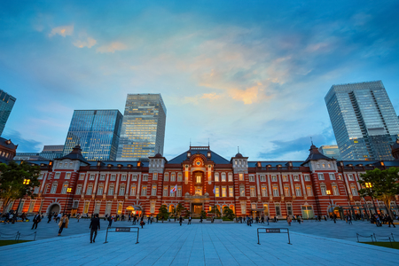 Tokyo Station in Tokyo, Japan Tokyo, Japan - April 27 2018: Tokyo Station opened in 1914, a major a railway station and its the busiest station in Japan in terms of number of trains per day