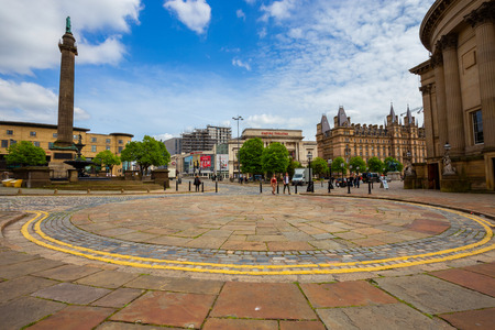 Liverpool, UK - May 16 2018: Citysacpe and architecture surround Liverpool Lime Street and  William Brown Street with Empire Theatre and St. George's Hall Editorial
