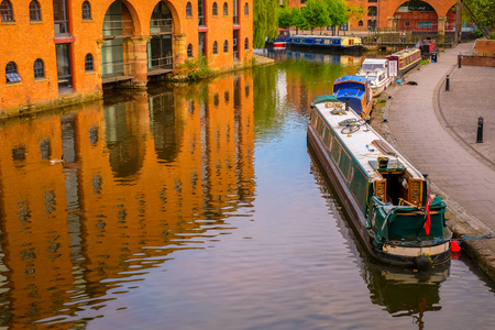 Castlefield, the inner city conservation area which  bounded by the River Irwell, Quay St., Deansgate and the Chester Rd. in Manchester, UK Manchester, UK - May 18 2018: Castlefield is an inner city conservation which was the site of the Roman era fort of