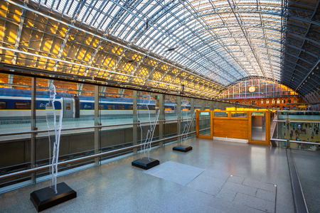 London, UK - May 14 2018: St Pancras station is a central London railway terminus. It is the terminal station for Eurostar continental services from London to France, Belgium and Netherlands