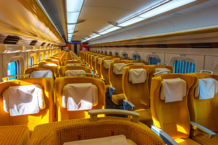 Interior of Japanese Shinkansen high speed train Tokyo, Japan - April 22 2018: Interior of Japanese Shinkansen high speed train  Komachi  travel up north east of Japan from Tokyo to Tohoku region