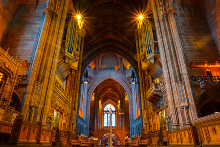 Liverpool Cathedral or the Cathedral Church of the Risen Christ, Liverpool in UK Liverpool, UK - May 16 2018: Liverpool Cathedral based on a design by Giles Gilbert Scott, constructed between 1904 and 1978 and it's the world's largest Anglican church buil