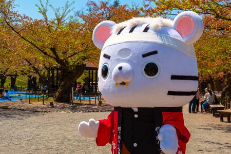 Aizuwakamatsu , Japan - April 21 2018: Unidentified Japanese dresses a Byakkotai White Tiger mascot suit at Aizu-Wakamatsu Castle