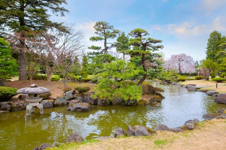 Hirosaki, Japan - April 23 2018: The Fujita Memorial Japanese Garden built in 1919 in Japanese traditional lanscpe style garden, named after a local business man, Fujita Kenichi