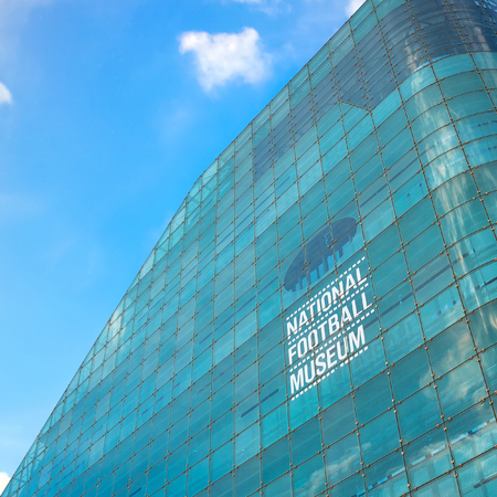 Manchester, UK - May 18 2018: The National Football Museum is The worlds biggest and best football museum, originally based in Deepdale, Preston, Lancashire and moved here in 2012 Editorial