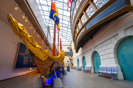 London, UK - May 21 2018: The National Maritime Museum has the most important holdings in the world on the history of Britain at sea comprising more than two million items, including maritime art 에디토리얼