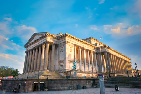 Liverpool, UK - May 17 2018: St George's Hall designed by Harvey Lonsdale Elmes, contains concert halls and law courts,  opened in 1854 and it's on the list of National Heritage List for England Editorial