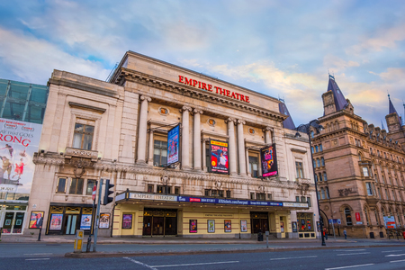 Liverpool, UK - May 16 2018: Liverpool Empire Theatre  located on the corner of Lime Street and London Road, opened in 1925 with largest two-tier auditorium in Britain that seat 2,348 people