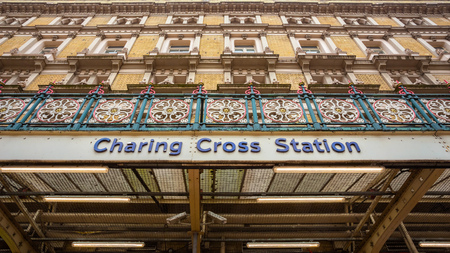 London, UK - May 14 2018: Charing Cross station is the terminus of the South Eastern main line to Dover via Ashford which provides the commuter and regional services to south-east London and Kent Sajtókép