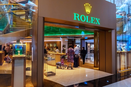 Hong Kong - April 30 2018: Rolex gallery at Hong Kong International Airport where its the worlds busiest cargo gateway and one of the worlds busiest passenger airports