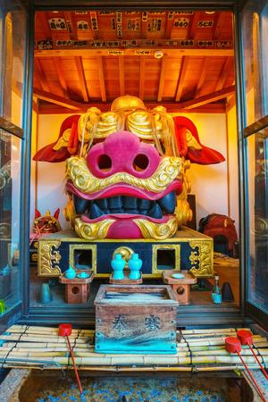 Tokyo, Japan - April 26 2018: Namiyoke Inari Shrine, established in 1657, the Namiyoke Inari Shrine became an unofficial guardian shrine for the marketplace and its traders at Tsukiji Fish market