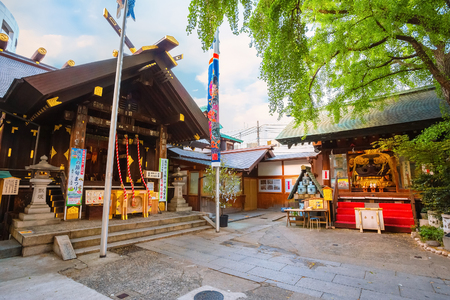 Tokyo, Japan - April 26 2018: Namiyoke Inari Shrine, established in 1657, the Namiyoke Inari Shrine became an unofficial guardian shrine for the marketplace and its traders at Tsukiji Fish market