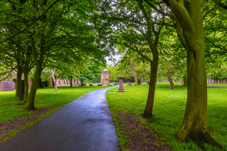 Liverpool, UK - May 16 2018:St Jamess Cemetery is an urban park at Liverpool Cathedral, used as the Liverpool city cemetery until 1936, now its designated a Grade I Historic Park by Historic England Publikacyjne
