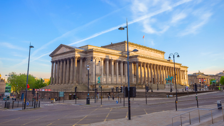 Liverpool, UK - May 18 2018: St George's Hall designed by Harvey Lonsdale Elmes, contains concert halls and law courts,  opened in 1854 and it's on the list of National Heritage List for England