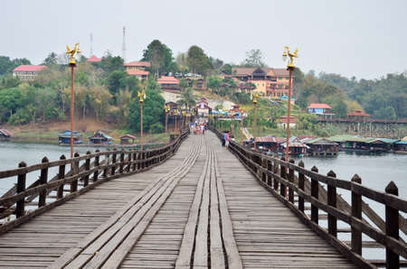 Mon Bridge, Cross River, songkalia river, Sangkhlaburi Kanchanaburi, Thailand photo