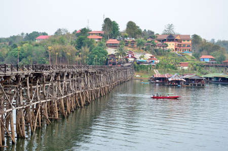 Resort, houses, bridges, Mon songkalia river, Sangkhlaburi Kanchanaburi, Thailand Stock Photo - 18135565