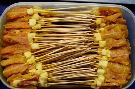 Pork Satay ready to cook at Thai native market photo