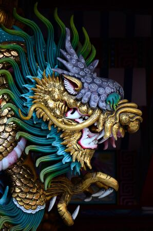 beautiful church dragon wall in Chinese temple of Thailand
