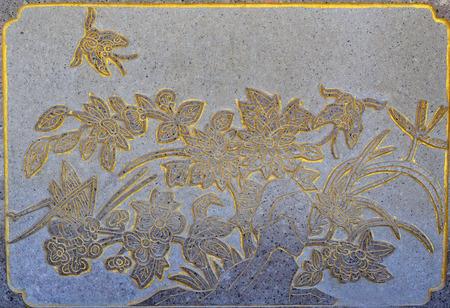 church flower: bella chiesa muro fiore nel tempio cinese di Thailandia Archivio Fotografico