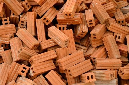 built: beautiful pile of red bricks prepair for built the house