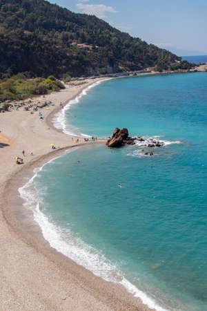 Potami beach in Samos island Stock Photo