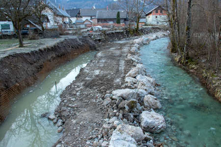 river bank being repaired in the morning Stock fotó