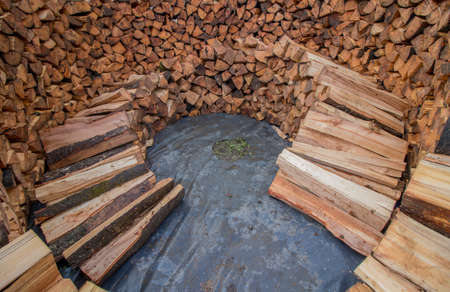 inside layer of round wood pile