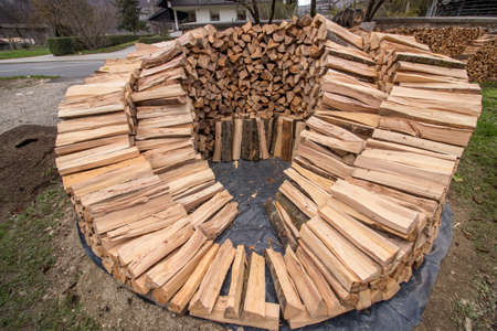 round wood pile 2 layers almost completed