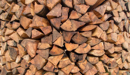 round wood pile close up Imagens - 124689857