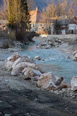 some big rocks in river stream