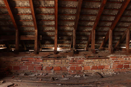 wooden beams supporting roof