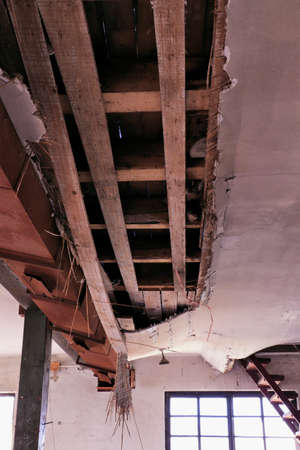 very damaged ceiling in old building