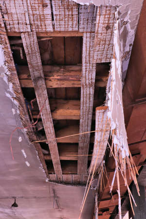 damaged ceiling in old building Imagens