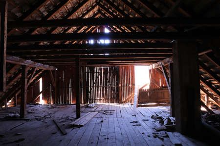 attic of a damaged building