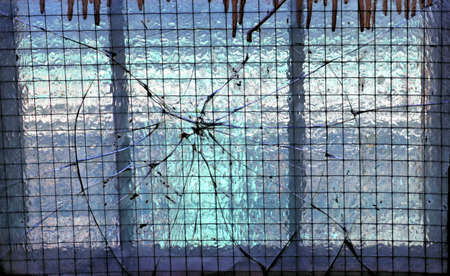 shattered glass in old building