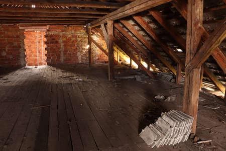 dark attic in old building Imagens