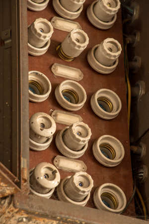 old dusted electric fuses close up