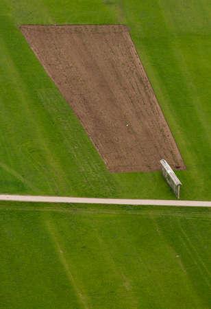 aerial photo of vivid green grass