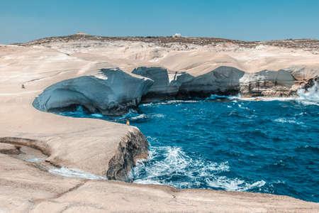 white cliffs on Sarakiniko beach, Milos island