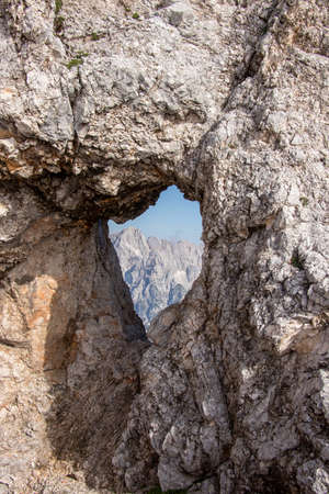 Natural window close up on Rjavina mountain