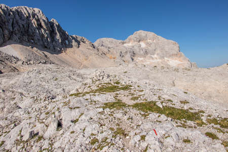 Mountain plato with peak Triglav behind Stok Fotoğraf