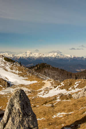 Beautiful look from Ratitovec to Triglav mountain