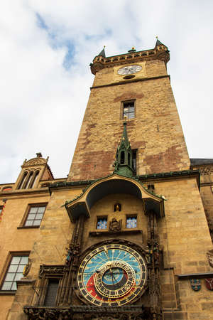 the old town hall with astronomical clock close up 版權商用圖片
