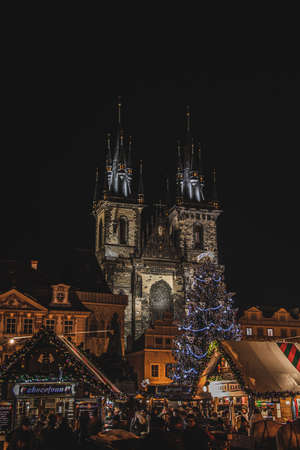 church of our lady before týn at night, december time Reklamní fotografie