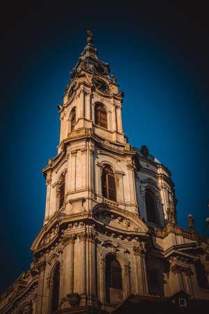 Big tower of St. Nicholas Church in Prague