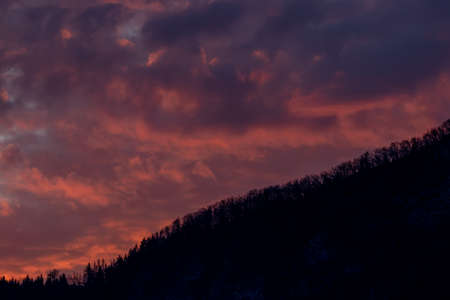 Sunset over the mountains in Bohinj Stock fotó