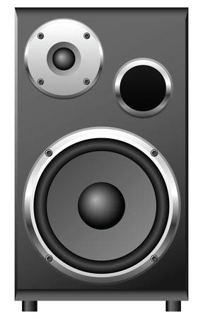 Two speakers and a passive radiator on the black case. Stock Vector - 6700312