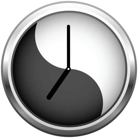 Metallic grey clock. Office wall clock with reflection.