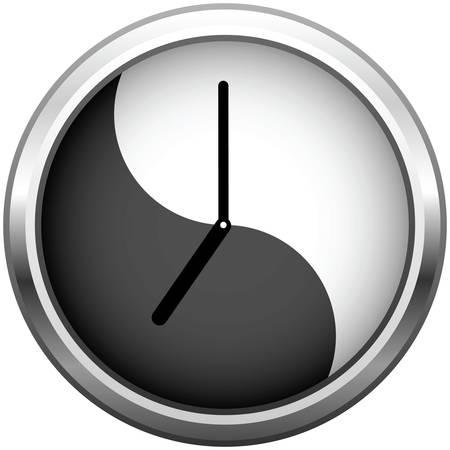 Uhr, Metallic-grau. Office-Wanduhr mit Reflektion.